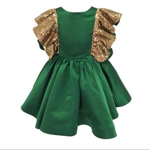 Other - Toddler Girl's Green and Gold Flower Girl Pageant